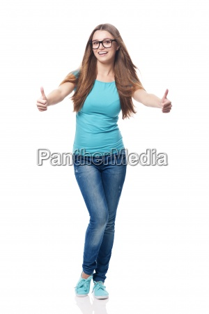 happy woman showing thumb up