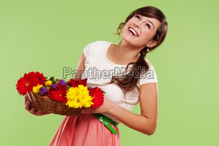 happy woman in a basket of