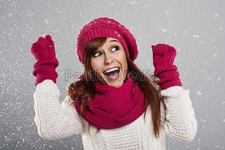 giovane, donna, gode, prima, neve, - 12110252