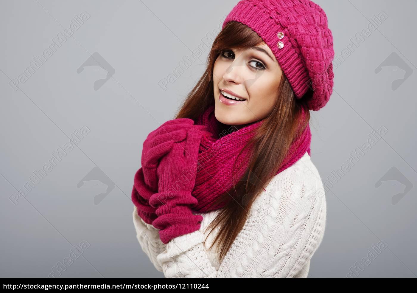 portrait, of, beautiful, woman, in, winter - 12110244