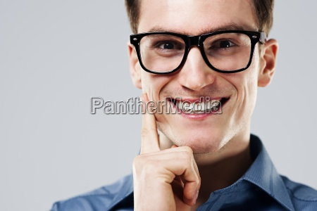 portrait of cheerful man with glasses