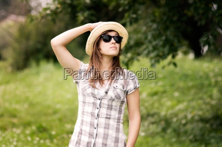 beauty young woman wearing fedora hat