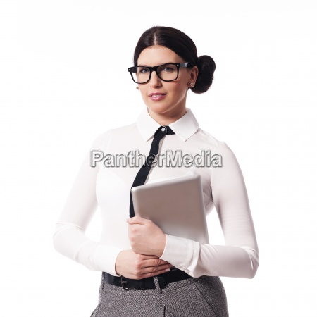 beautiful businesswoman holding digital tablet