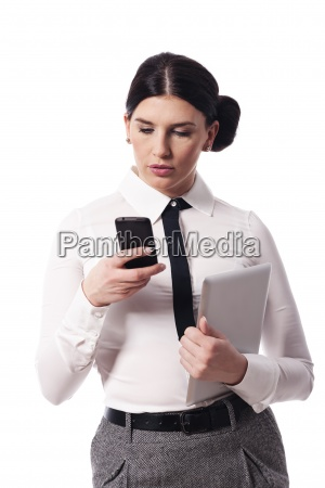 busy woman with a phone and