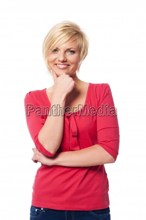 portrait of beautiful and smiling woman
