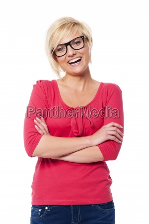 portrait of happy woman wearing in