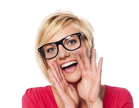 fashionable woman shouting