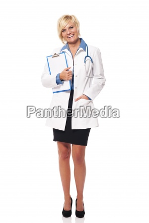 portrait of female doctor with clipboard