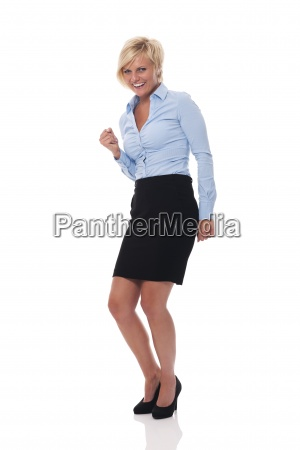 happy and beautiful businesswoman cheering