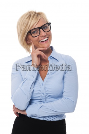 portrait of smiling and beautiful businesswoman