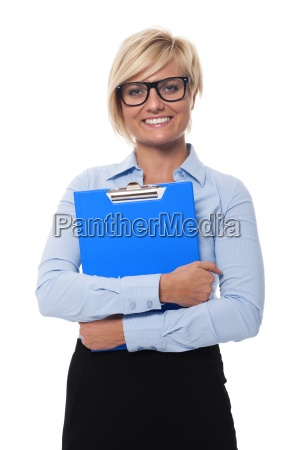 blonde and beautiful businesswoman holding blue