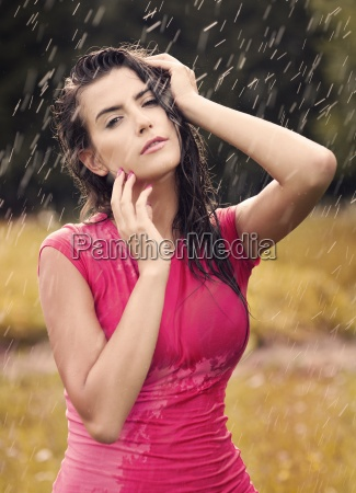 sexy woman in summer raindrop