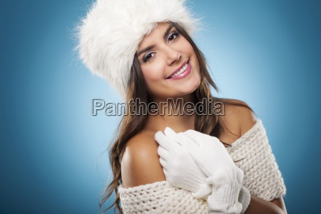 portrait of beautiful and smiling winter