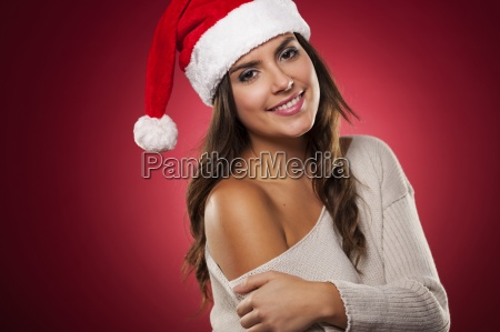 christmas portrait of gorgeous mrs claus