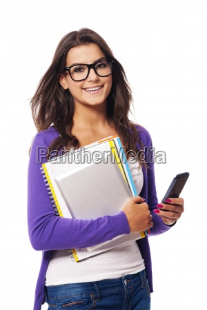 portrait of happy mobility female student