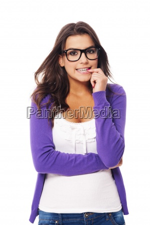 scared woman wearing fashion glasses