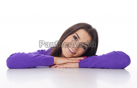 beautiful woman resting and leaning at
