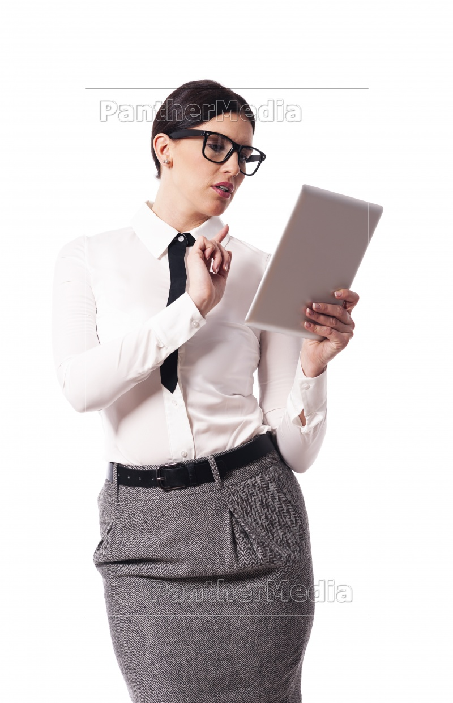 beautiful, businesswoman, using, digital, tablet - 12112088