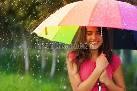 beautiful, woman, under, rainbow, umbrella - 12112604