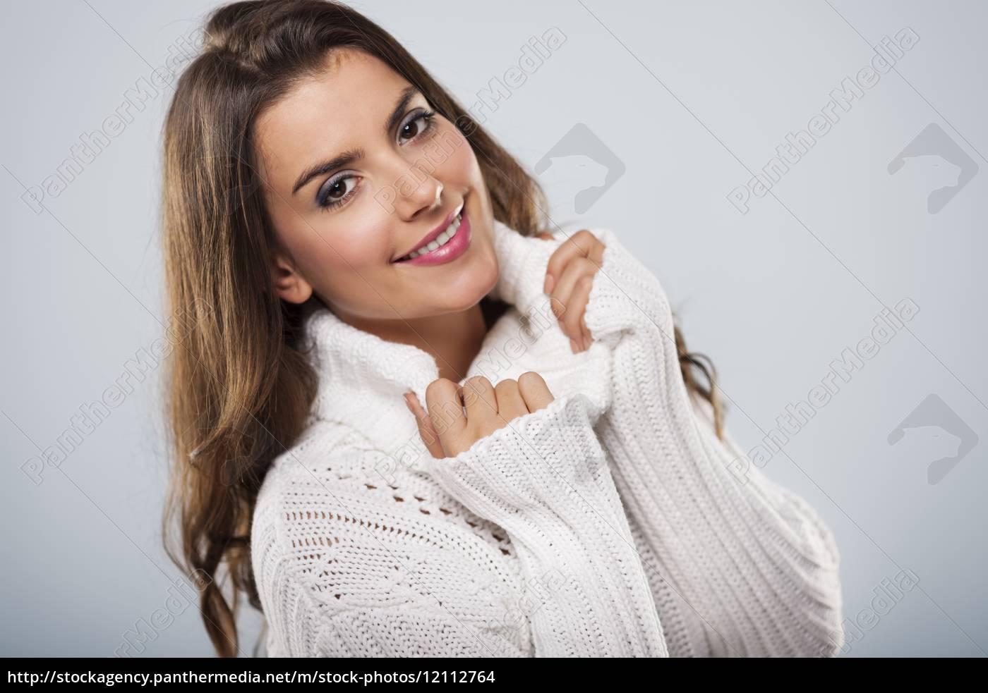 beautiful, woman, wearing, white, warm, sweater - 12112764