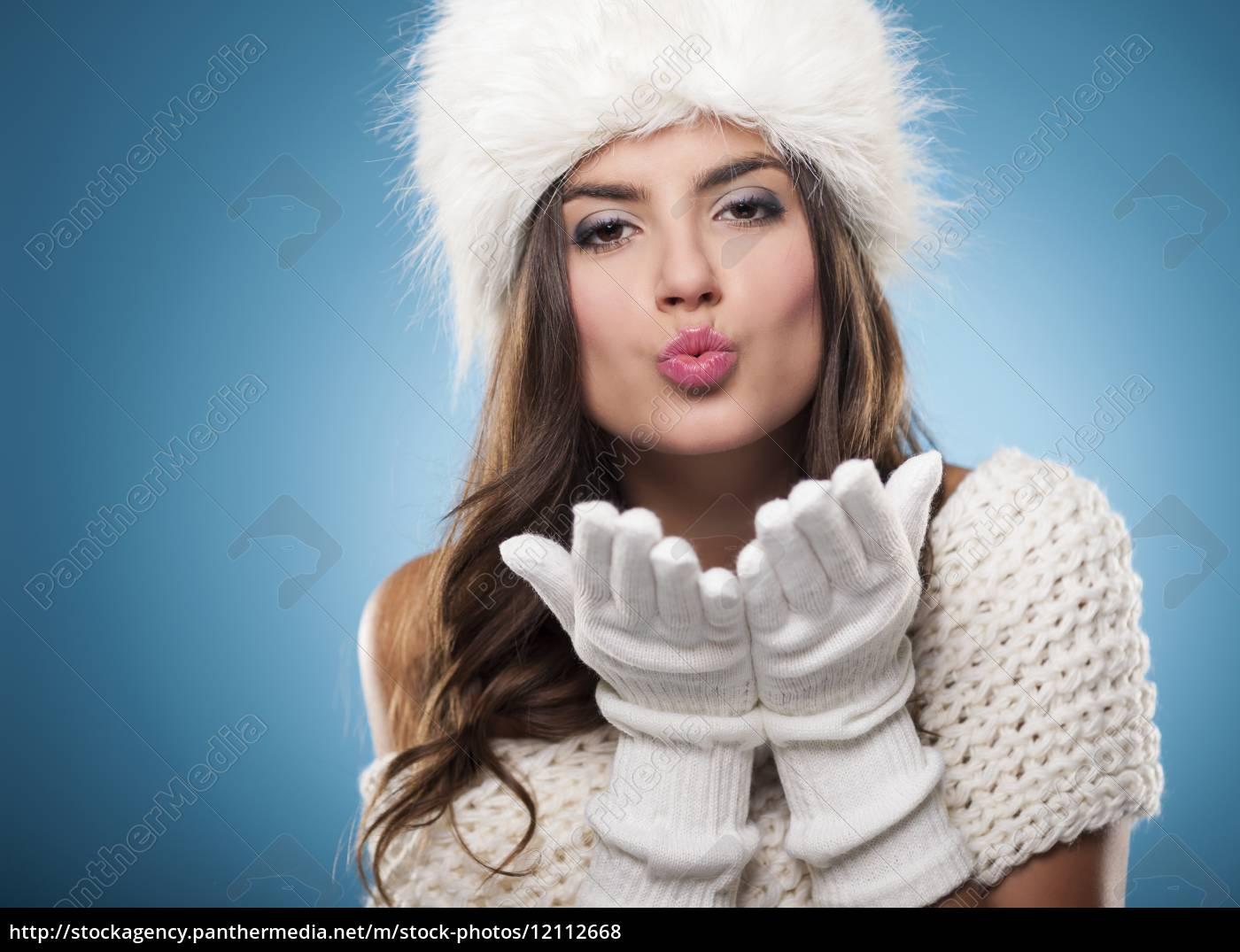 beautiful, young, woman, blowing, kisses, - 12112668