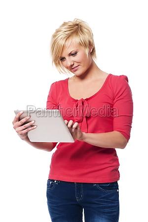 focused, woman, using, digital, tablet, - 12112320