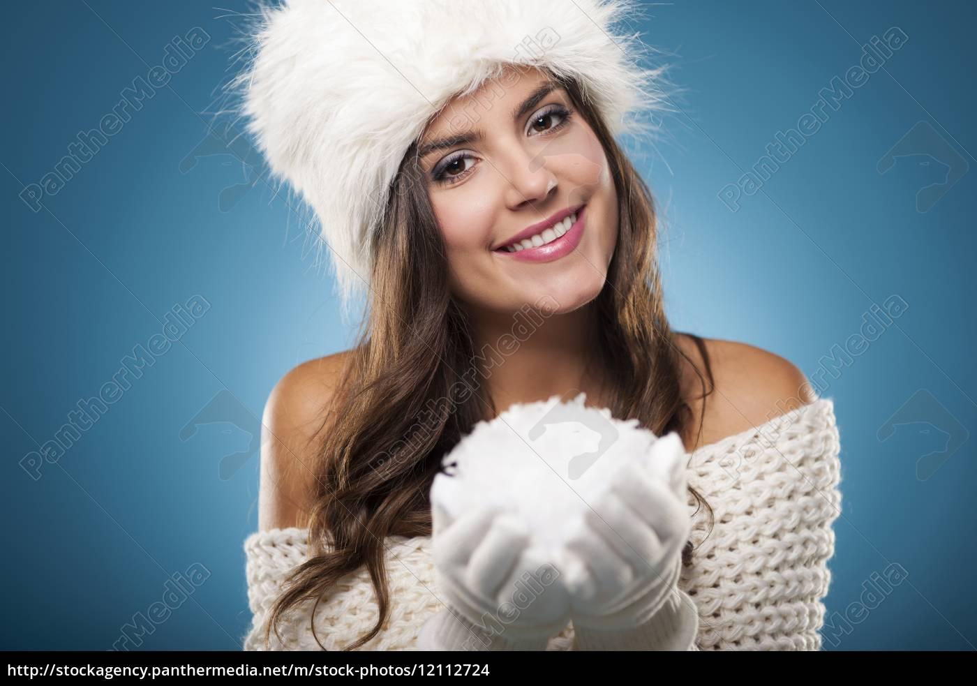 ritratto, di, bella, donna, d'inverno, con - 12112724