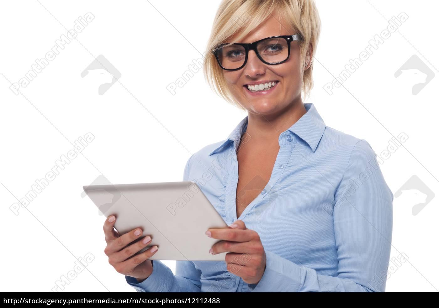 ritratto, di, bella, imprenditrice, con, tablet - 12112488