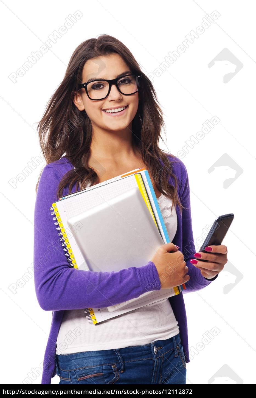 ritratto, di, mobilità, felice, studentessa, - 12112872