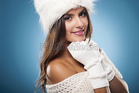 ritratto, di, splendida, donna, d'inverno, che - 12112672