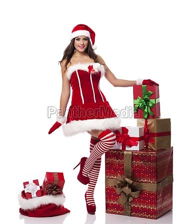 sexy, santa, donna, con, regali, di - 12112988