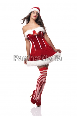 passionate woman wearing sexy santa claus