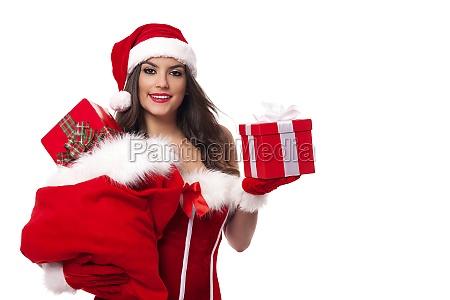 happy woman with santa claus sack