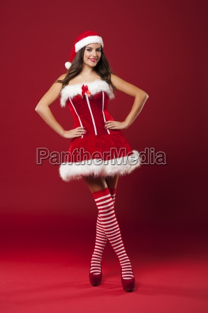 portrait of sexy santa woman