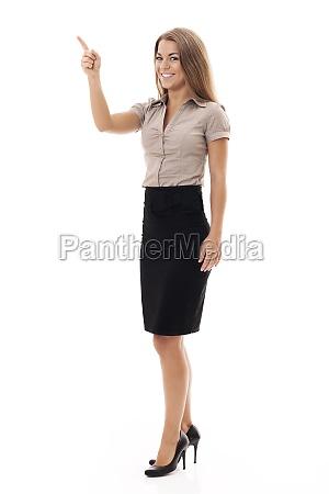 confident businesswoman gesturing on white