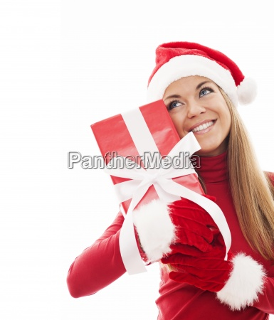 attractive woman with christmas gift box