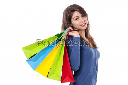 young beautiful female with shopping bag