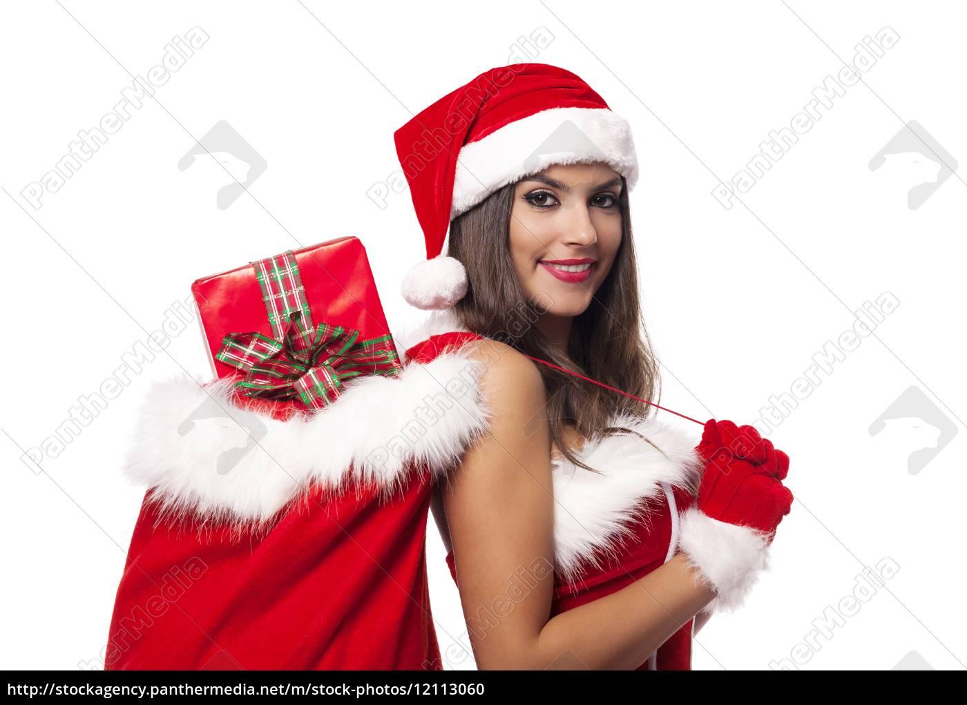 bella, donna, che, indossa, abiti, santa - 12113060