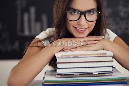 bella, studentessa, con, libri, - 12113696