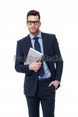 handsome businessman in work with the