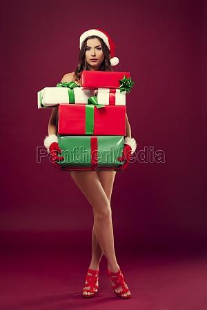 sexy naked santa with christmas present
