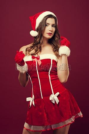 sexy woman wearing a santa costume