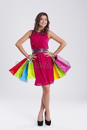 fashionable woman with shopping bag