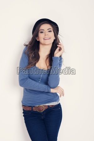 beautiful woman in fashionable clothes