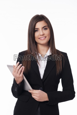 portrait of happy woman with digital