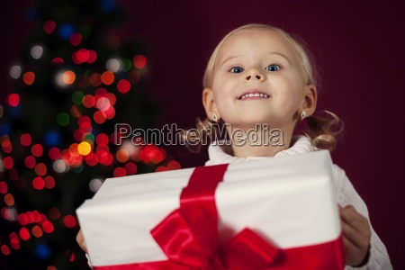 happy little girl at christmas time