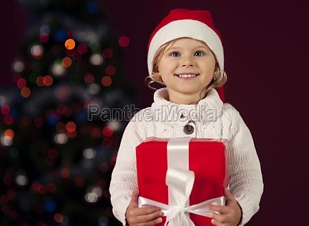 cute little girl celebrating christmas holidays