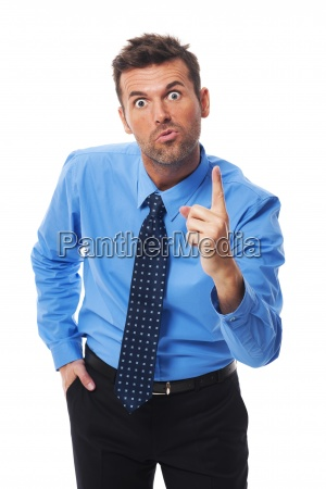 very angry businessman threatening you