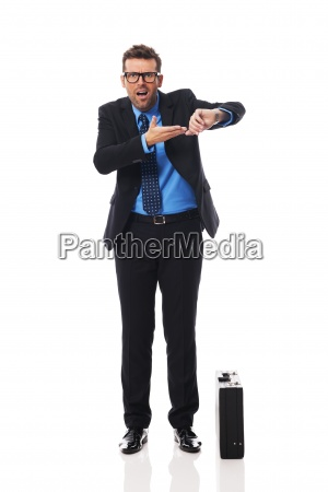 angry businessman waiting for late business