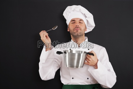 chef enjoying the aroma of a
